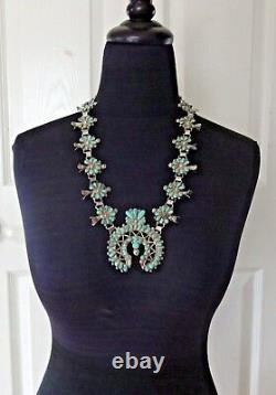Vintage 1940s Zuni Argent Sterling Turquoise Petit Point Squash Blossom Collier