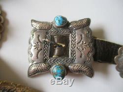 Vintage 1960 Handstamped Argent Sterling Turquoise Concho Boucle De Ceinture