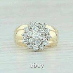 Vintage 2.00 Ct Diamond Waterfall Cluster 10k Or Jaune Finition Cocktail Anneau