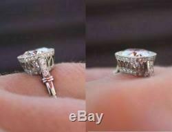 Vintage 2.25ct Diamant 14k Or Blanc Art Déco Fn Unique Bague De Fiançailles De Mariage