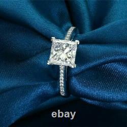 Vintage 2ct Princess Cut Moissanite Bague De Fiançailles 14k Or Blanc Sur