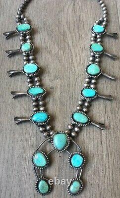 Vintage (5.72 Oz.) 26 Long Navajo Turquoise & Sterling Squash Collier Blossom