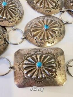 Vintage Amérindien Argent Sterling Concho Ceinture Repousse Turquoise