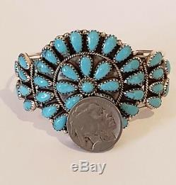 Vintage Amérindien En Argent Sterling Bracelet Turquoise Om Signe