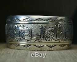 Vintage Amérindien Navajo Conteur En Argent Sterling Bracelet