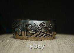 Vintage Amérindien Navajo En Argent Sterling Bracelet
