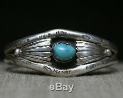 Vintage Amérindien Navajo En Argent Sterling Turquoise Bracelet