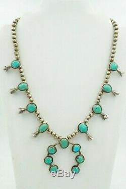 Vintage Amérindien Navajo En Argent Sterling Turquoise Collier Squash Blossom