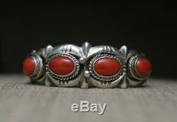 Vintage Amérindien Navajo Sandcast Corail En Argent Sterling Bracelet