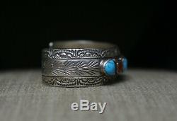 Vintage Amérindien Navajo Turquoise Corail En Argent Sterling Bracelet