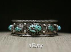 Vintage Amérindien Navajo Turquoise En Argent Sterling Bracelet