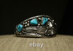 Vintage Amérindien Navajo Turquoise En Argent Sterling Bracelet Foliate