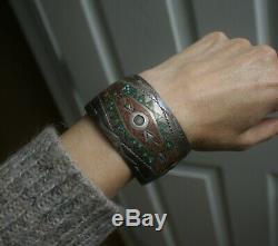 Vintage Amérindien Navajo Turquoise Inlay En Argent Sterling Bracelet