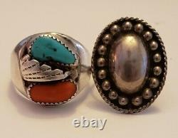 Vintage Amérindien Sterling Silver Turquoise & Coral Ring Lot