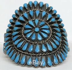 Vintage Amérindien Zuni Argent Sterling Turquoise Cluster Bracelet