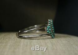 Vintage Amérindien Zuni Turquoise Sterling Silver Bracelet Cluster