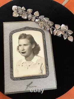 Vintage Années 1940 Sterling Silver 29 Puffy Engraved Heart Charm Bracelet W Bijoux