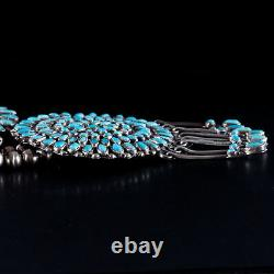 Vintage Années 1970 Sterling Silver Navajo Native American Turquoise Squash Blossom