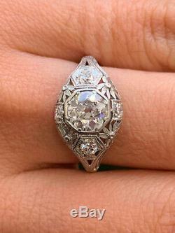 Vintage & Antique Art Déco Antique Anneau Fin 14k Or Blanc Fini 2 Ct Diamant