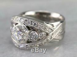 Vintage & Antique Art Déco Bague De Fiançailles 4ct Diamant Rond En Or Blanc 14k Plus
