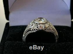 Vintage & Antique Art Déco Bague De Fiançailles Fine Or Blanc 14 Ct Plus De 2 Ct Diamant
