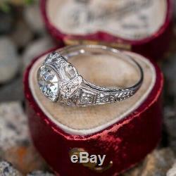 Vintage & Antique Art Déco Bague Fin De Mariage 2.2ct Diamant Or Blanc 14 Ct Fini