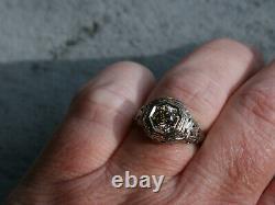 Vintage & Antique Art Déco Edouardian Ring 14k Or Blanc Plus De 2 Ct Rond Diamant