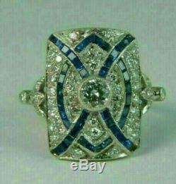 Vintage Antique Art Nouveau Beaux Bague En Or Blanc Plus 2ct Diamond & Sapphire