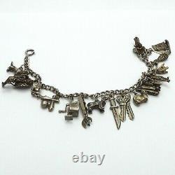 Vintage Antique Bracelet De Charme En Argent Sterling Avec 17 Charmes Beaucoup Articulés