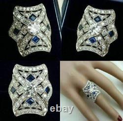Vintage Antique Retro Art Déco Wedding Ring 14k Or Blanc Plus De 3,11 Ct Diamond