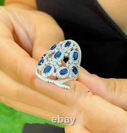 Vintage Antique Retro Wedding Ring 2.1 Ct Oval Blue Sapphie 14k White Gold Over