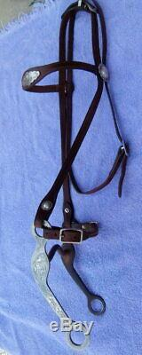 Vintage Argent Sterling Conchos Horse Show Argent Gravé Têtière Bit Curb