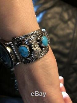 Vintage Argent Sterling Mens Native American Western Turquoise Bande Watch