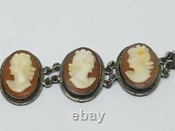 Vintage Argent Sterling Multi Carved Shell Cameo Link Bracelet