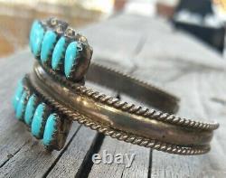 Vintage Argent Sterling Zuni Petite Point Turquoise Cuff Bracelet 17.4 Grams Dj