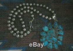 Vintage Arizona Kingman Turquoise Pendentif En Argent Sterling Collier Perles Navajo