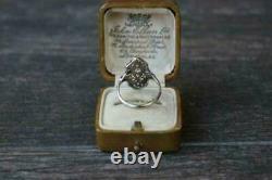 Vintage Art Déco 14k Or Blanc Sur Bague De Mariage De Fiançailles 2 Ct Diamant Rond