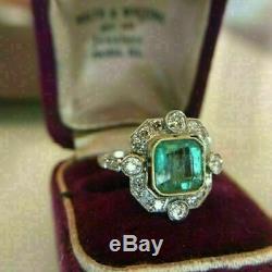 Vintage Art Deco 2.3 Ct Vert Émeraude Et Diamants Asscher En Or Blanc 14k Plus