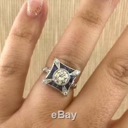 Vintage Art Déco 2ct Diamant Et Saphir Bague De Fiançailles De Mariage En Or Blanc 14k Fn