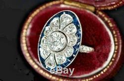 Vintage Art Déco 2ct Diamant Rond / Saphir Or Blanc 14k Plus De Bague De Fiançailles