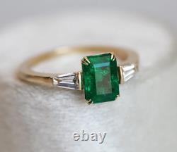 Vintage Art Déco 3.10 Ct Green Emerald & Diamond Antique Bague De Mariage De Fiançailles