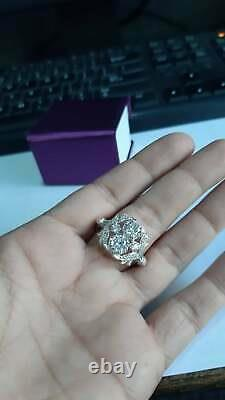 Vintage Art Deco 3.4 Ct Blanc Rond Diamant Antique Fiançailles Promesse Bague Cadeau