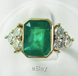 Vintage Art Déco 4,20 Ct Vert Émeraude Et Diamant Antique Bague De Fiançailles De Mariage
