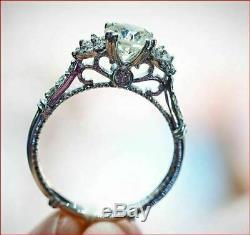 Vintage Art Déco Anneau De Mariage 2 Ct Diamant Bague De Fiançailles En Or 14k Fini Blanc
