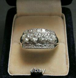 Vintage Art Déco Antique Bague De Fiançailles 14k Or Blanc Sur 3 Ct Ronde Diamant