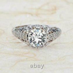 Vintage Art Déco Antique Filigree Anneau De Mariage 2.3t Diamant 925 Sterling Argent
