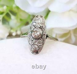 Vintage Art Déco Antique Wedding Elongated Ring 2 Ct Diamond 925 Argent Sterling