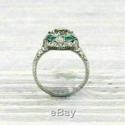 Vintage Art Déco Bague 3.00ct Diamant Rond / Emeraude Mariage 14k Or Sur