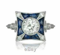 Vintage Art Déco Bague De Fiançailles 1,68 Ct Diamant Rond Et Saphir Or 14k Plus