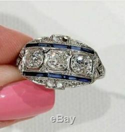 Vintage Art Déco Bague De Fiançailles 2,40 Ct Diamant Et Saphir En Or Blanc 14k Plus